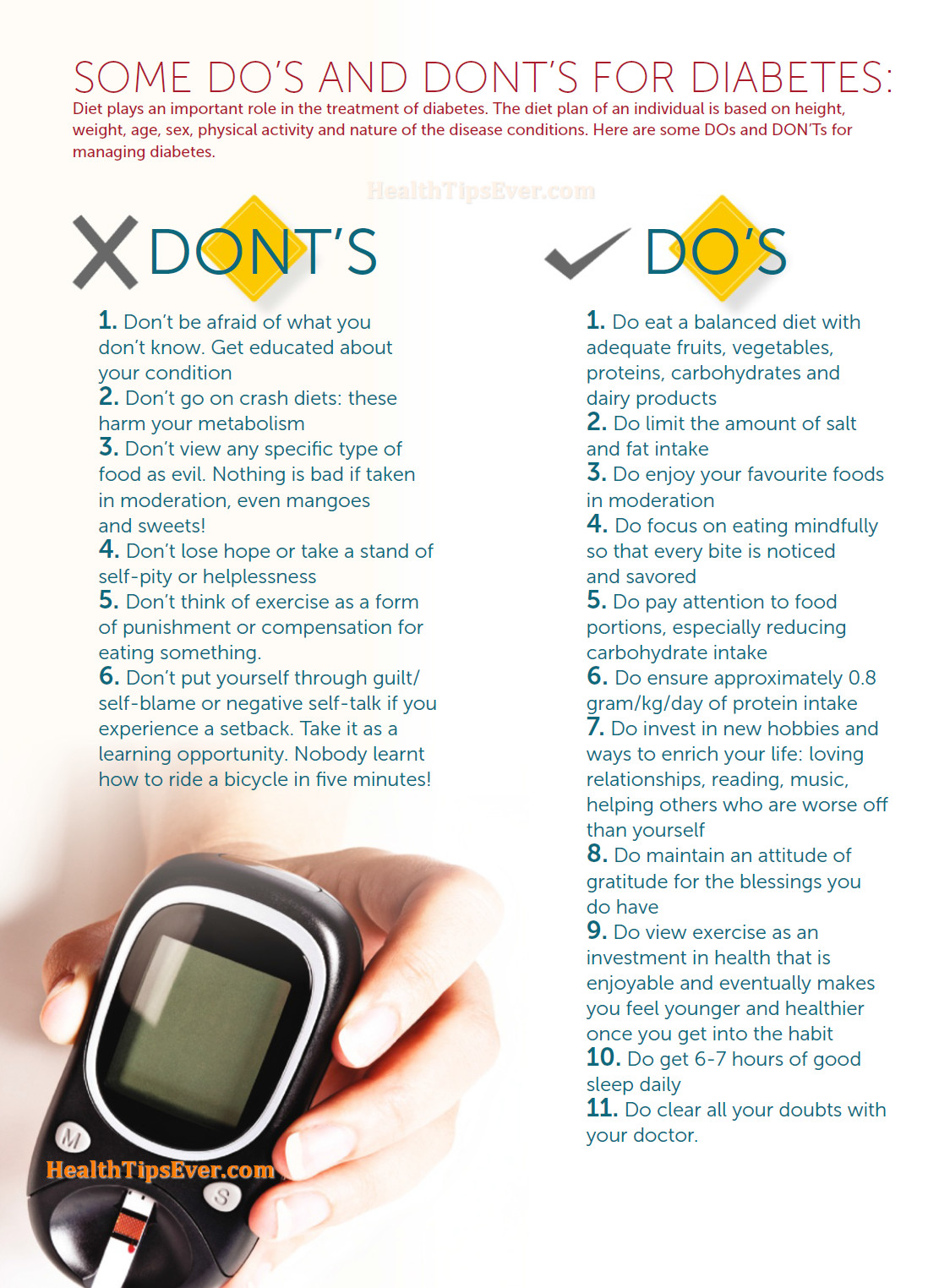 Suggestions for diabetes patients