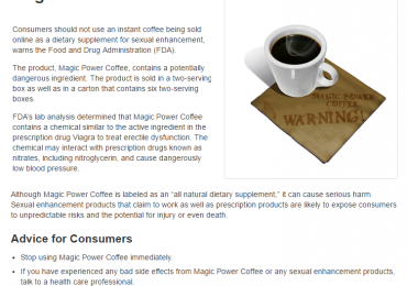 Magic Power Coffee Reviews: Amazon Doesn't Sell Banned Sex Enhancer?