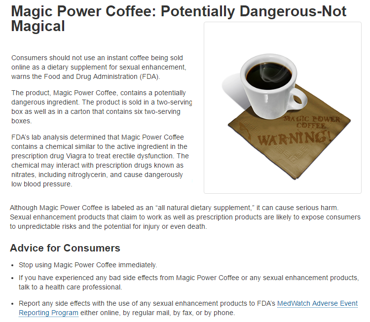 Magic Power Coffe USFDA recall notice